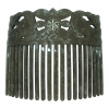 Faux Turtle Shell Carved Comb - Black/Grey